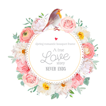 peachy: Cute floral round card with white peony, peachy rose and ranunculus, dahlia, carnation flowers, eucalyptus leaf, mixed plants and cute small robin bird. All elements are isolated and editable.