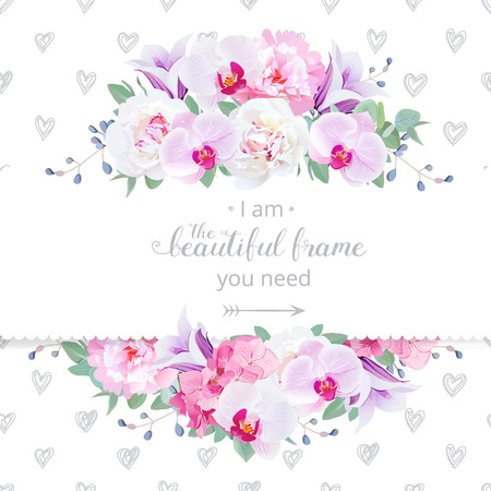 Wedding floral design horizontal card. Pink and white peony, purple orchid, hydrangea, violet campanula flowers frame. Delicate hand-drawn hearts backdrop. All elements are editable.
