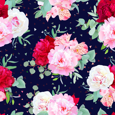 Navy floral seamless print with burgundy red and pink peony, alstroemeria lily, mint eucalyptus. Confetti triangles speckled graphic backdrop.