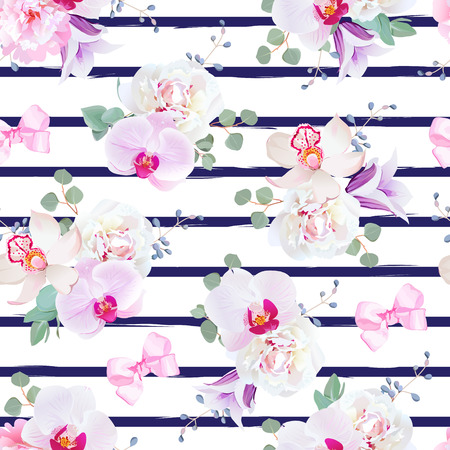 Navy blue striped seamless print in purple, pink and white tones with bows. Peony, violet campanula, orchid, bell flower, eucalyptus. Simple backdrop with satin pink bows and blue berries.