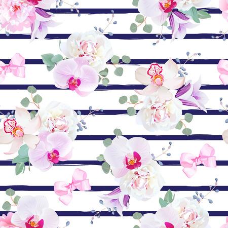 Azul marino a rayas de impresión sin problemas en tonos blancos con lazos de púrpura, rosa y azul. Peony, campanilla violeta, orquídea, flor de campana, el eucalipto. telón de fondo simple con lazos de raso rosa y bayas azules.