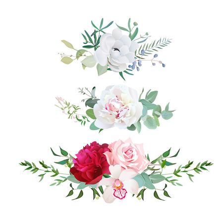 Stylish mix of horizontal flower bouquets design flowers set. Rose, orchid, burgundy red and white peony, anemone, eucalyptus, various plants and herbs. All elements are isolated and editable.