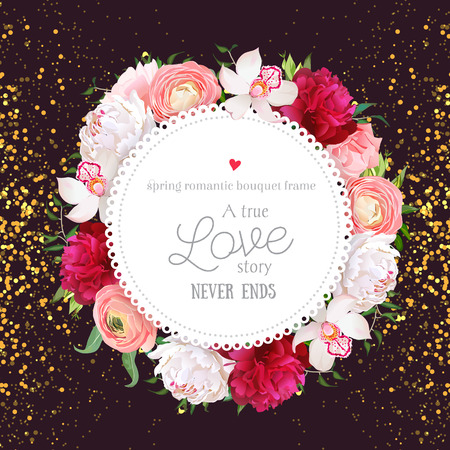 Floral design round card with golden glitter dark background. White and burgundy red peony, pink roses, ranunculus flowers, orchid. All elements are isolated and editable