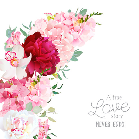 Luxury floral crescent shape frame with peony, alstroemeria lily, orchid, hydrangea, eucalyptus on white. Pink, white and burgundy red flowers. All elements are isolated and editable. Illustration