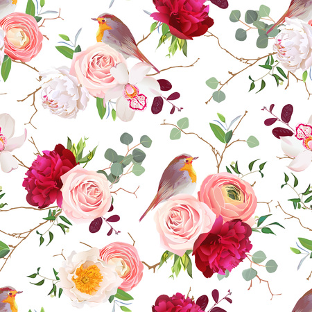 peachy: Natural seamless pattern with cute robin birds and bouquets of peachy roses, white and burgundy red peony, orchid, eucalyptus, green plants mix and ranunculus in japanese style