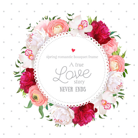 Polka dots pattern with floral design round card. White and burgundy red peony, pink roses, ranunculus flowers, orchid, mix of green plants. All elements are isolated and editable