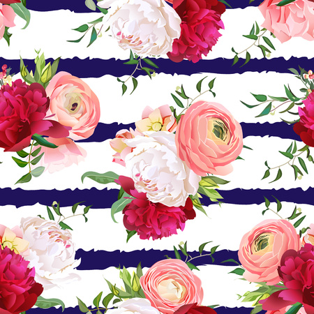 peachy: Burgundy red and white peonies, ranunculus, rose seamless pattern. Navy striped elegant print with luxury bright flowers. Illustration