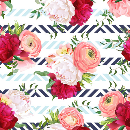 peachy: Burgundy red and white peonies, ranunculus, rose seamless pattern. Blue triangle striped elegant print with luxury bright flowers. Illustration