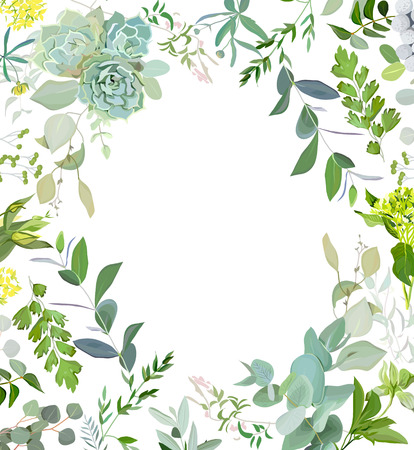 Herbal mix square vector frame. Hand painted plants, branches, leaves, succulents and flowers on white background. Echeveria, eucalyptus, green hygrangea, brunia. Natural card design. Ilustracja