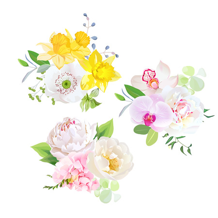 wild rose: Spring mixed bouquets of pink hydrangea, white poppy, peony, orchid, yellow daffodils, wild rose and bright green plants vector design set. All elements are isolated and editable.