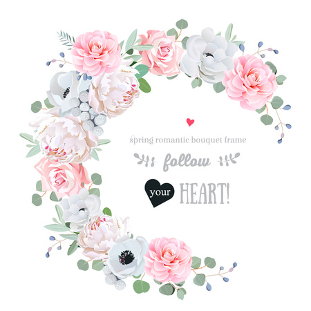 Delicate floral vector round frame with peony, rose, camellia, anemone, eucalyptus, brunia on white. Pink and white flowers. Half moon shape bouquet. All elements are isolated and editable.