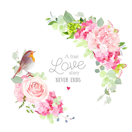 Floral vector round frame with pink rose, hydrangea, carnation flowers, mixed plants and cute small robin bird. Half moon shape bouquets. All elements are isolated and editable