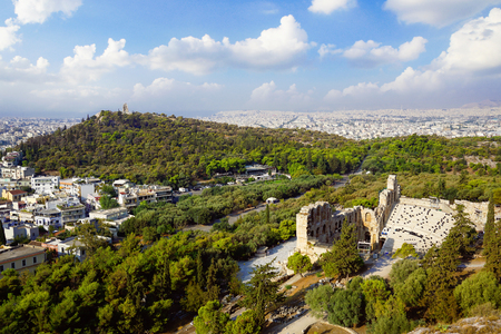 Panoramic view of Theatre of Dionysus in Athens and Filopappos Hill, view from the Acropolis. Stock Photo