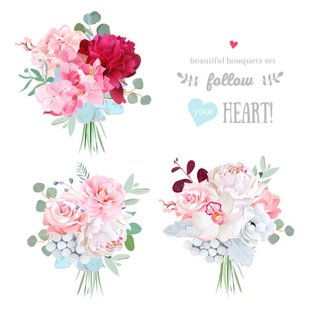 Small gift bouquets vector design set. White and burundy red peony,pink rose, camellia, succulents, brunia, orchid, hydrangea, eucalyptus. All elements are isolated and editable. Stock Illustratie