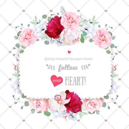 Square floral vector design frame. Orchid, peony, anemone, rose, camellia flowers. Wedding card. Simple backdrop with diagonal lines and small princess crowns. All elements are isolated and editable. Illustration