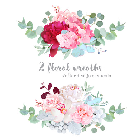Floral mix wreath vector design set. White and burundy red peony,pink rose, camellia, succulents, brunia, orchid, hydrangea, eucalyptus. All elements are isolated and editable.