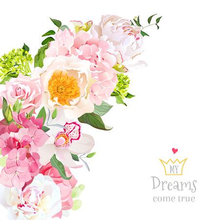 牡丹、バラ、蘭、アジサイ、白地のユーカリと春花ミックスのベクター デザイン。結婚式フレーム。三日月形のブーケ。ピンク、黄色と白の花。す