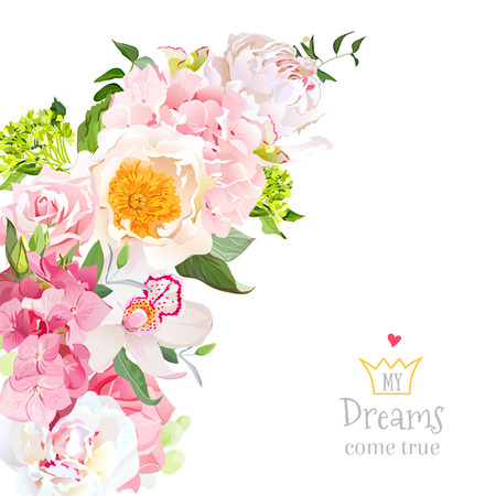 Spring floral mix vector design with peony, rose, orchid, hydrangea, eucalyptus on white. Wedding frame. Crescent shape bouquet. Pink, yellow and white flowers. All elements are isolated and editable.