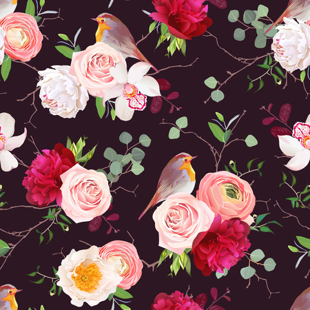 peachy: Dark natural vector seamless pattern with robin birds and bouquets of peachy roses, white and burgundy red peony, orchid, eucalyptus, green plants mix and ranunculus in japanese style. Illustration
