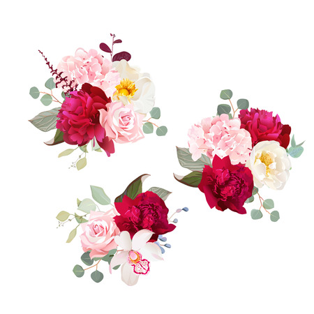 Gift bouquets of rose, peony, green and pink hydrangea, orchid and eucalyptus leaves. Romantic gifts vector design set. All elements are isolated and editable.