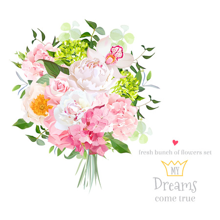 Beautiful vector bouquet with peony, rose, carnation, hydrangea, orchid, green plants on white vector design set. Bunch of flowers in modern mixed style. All elements are isolated and editable.
