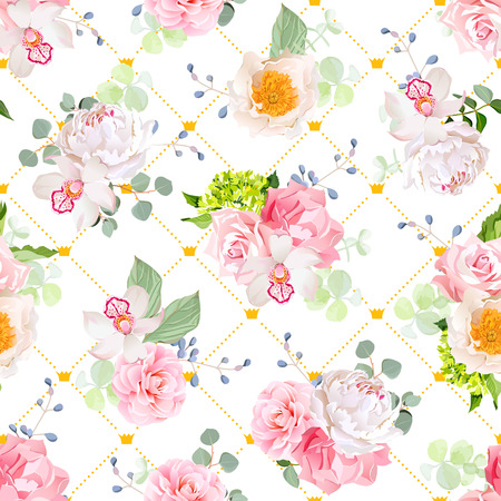 Small spring bouquets of rose, peony, camellia, orchid, carnation, hydrangea, blue berries and eucaliptis leaves. Seamless vector print with diagonal lines and small princess crowns.