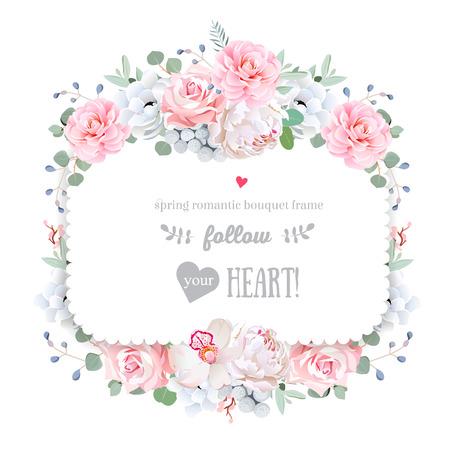 del marco del diseño floral del vector de la plaza. Orquídea, peonía, anémona, rosa rosa, Brunia, flores de camelia. Invitación de boda en blanco. Todos los elementos están aislados y editables.