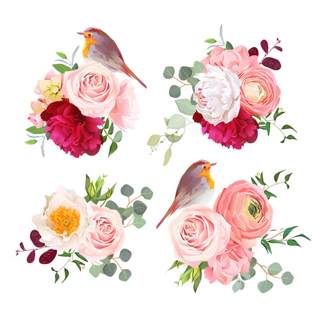 peachy: Surprise bouquets and cute robin birds vector design objects. Peachy roses, white and burgundy red peony, carnation, eucalyptus and ranunculus flowers in japanese style. All elements are editable.