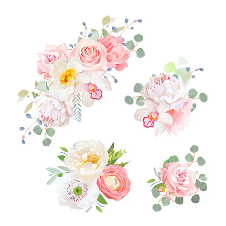Spring delicate bouquets vector design objects. Peachy and pink roses, peony, carnation, orchid, white poppy, ranunculus flowers, eucalyptus. All elements are isolated and editable 矢量图像