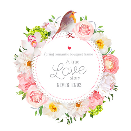 Floral vector round card with white peony, peachy rose and ranunculus, dahlia, carnation flowers, green hydrangea, mixed plants and cute small robin bird. All elements are isolated and editable. Illustration