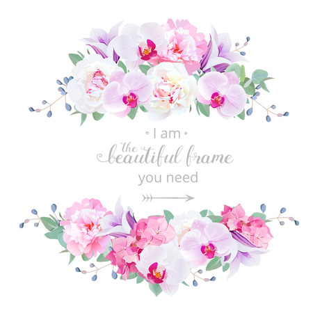 Wedding floral vector design horizontal card. Pink and white peony, purple orchid, hydrangea, violet campanula flowers frame. All elements are isolated and editable