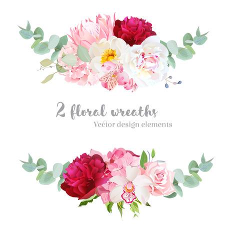 mezcla guirnalda Conjunto floral del diseño del vector. Hortensia rosa, color de rosa, protea, blanco y rojo burdeos peonía, orquídea, lirio alstroemeria, eucalipto. Banderas de la flor horizontal elegante. Todos los elementos son editables. Ilustración de vector