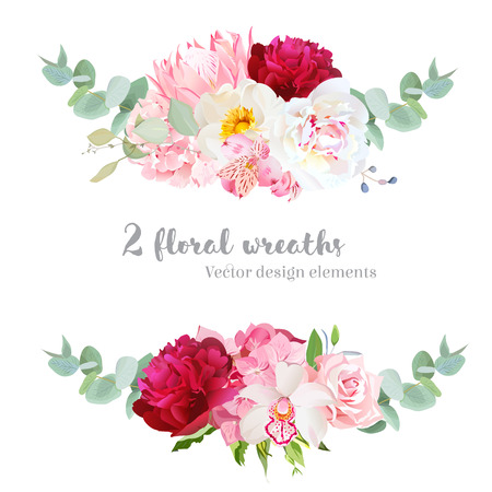 Floral mix wreath vector design set. Pink hydrangea, rose, protea, white and burgundy red peony, orchid, alstroemeria lily, eucalyptus. Stylish horizontal flower banners. All elements are editable.