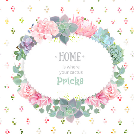 Oval succulents vector design frame. Echeveria, protea, eucayptus, rose, hydrangea. Natural cactus card in modern funky style. Rainbow round confetti backdrop. All elements are isolated. Illustration