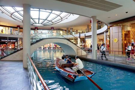 shoppe: People walk at the Marina Bay Sands Shoppes