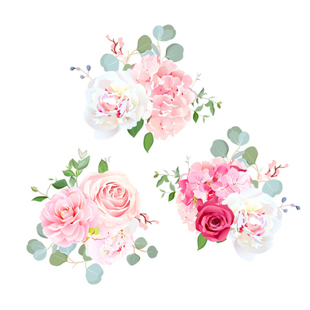 Bouquets of rose, peony, camellia, hydrangea and eucalyptus. Illustration