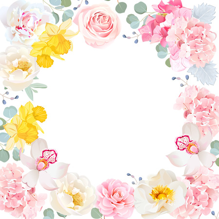 Floral vector round frame. White center and flowers invitation card.
