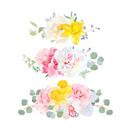 Stylish mix of horizontal bouquets vector design set.