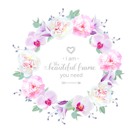 Beautiful wedding floral vector design round frame