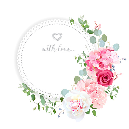Delicate wedding floral vector design card. Çizim
