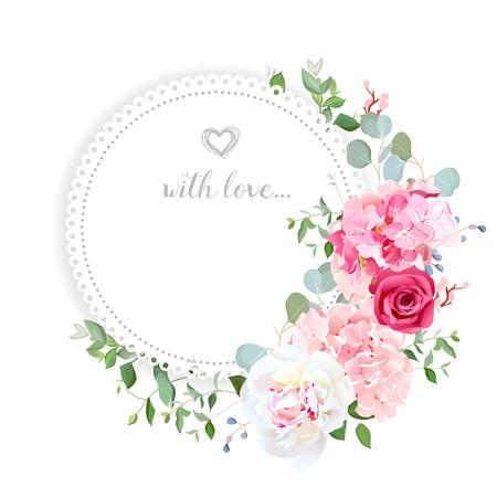 Delicate wedding floral vector design card. Vettoriali