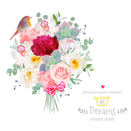 Bouquet arranged from flowers and robin bird vector design set Ilustrace