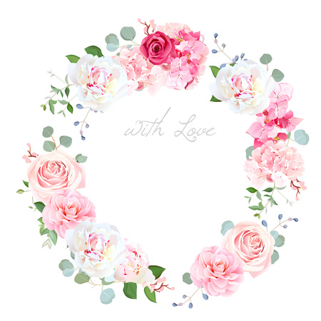 Delicate wedding floral vector design round frame 일러스트