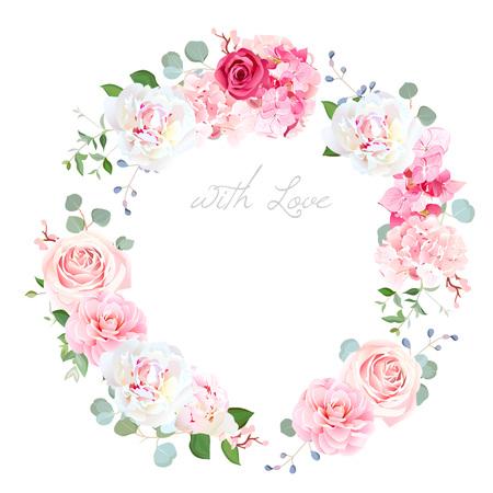 Delicate wedding floral vector design round frame Vettoriali