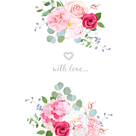 Delicate wedding floral vector design card