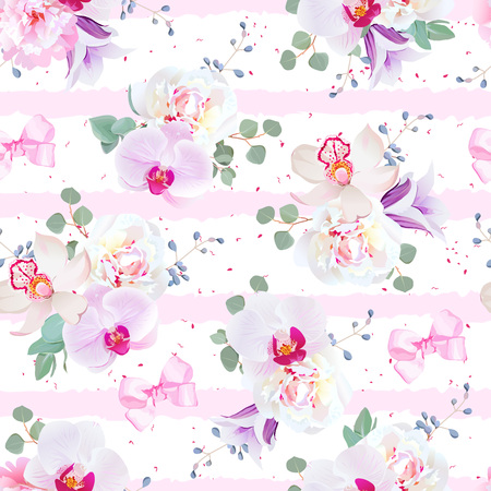 Delicate seamless vector pattern in purple, pink and white tones 向量圖像