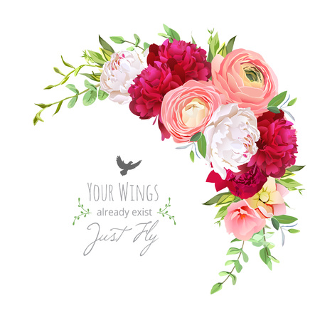 Blooming bouquet floral vector frame with ranunculus, peony, ros Illustration