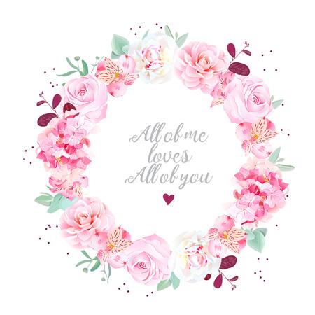 Stilvolle Hochzeit Blumen Karte mit Punkten Vektorgrafik