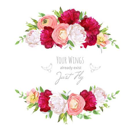 Burgundy red and white peonies, pink ranunculus, rose