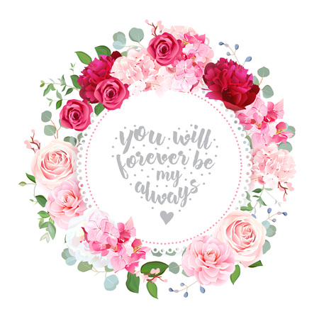 Romantic wedding floral vector design round card Illustration